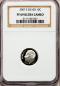 Proof Roosevelt Dimes, 2007-S 10C Silver PR69 Ultra Cameo NGC. PCGS Population (1491/405).Numismedia Wsl. Price for problem f...
