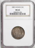 Coins of Hawaii: , 1883 25C Hawaii Quarter MS65 NGC. Strong luster shines beneathheavy rose and orange patina. A remarkably well-preserved co...