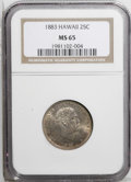 Coins of Hawaii: , 1883 25C Hawaii Quarter MS65 NGC. A highly lustrous Gem example ofthis popular auxiliary series. Nicely struck with attrac...