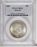 Coins of Hawaii: , 1883 50C Hawaii Half Dollar MS62 PCGS. Highly lustrous with a solidstrike. Greenish-gold patina appears at areas of the ob...