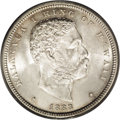 Coins of Hawaii: , 1883 50C Hawaii Half Dollar MS64 PCGS. This example of the hapaluais a remarkable near-Gem with frosty silver luster and f...