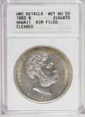Coins of Hawaii: , 1883 $1 Hawaii Dollar--Rim Filed, Cleaned--ANACS. Unc. Details, NetAU50. Light golden-brown ...