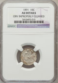 Seated Dimes: , 1891 10C -- Obverse Improperly Cleaned -- NGC Details. AU. NGCCensus: (4/831). PCGS Population (14/778). Mintage: 15,310,6...