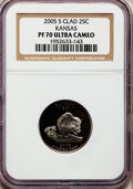 Proof Statehood Quarters, 2005-S 25C Kansas Clad PR70 Ultra Cameo NGC. NGC Census: (2634). PCGS Population (263). Numismedia Wsl. Price for problem ...