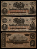 Confederate Notes:1862 Issues, CT41/316 Counterfeit $100 1862 Two Examples. T67 $20 1864.. ...(Total: 3 notes)