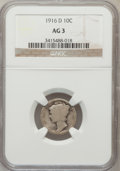 Mercury Dimes: , 1916-D 10C AG3 NGC. NGC Census: (0/1173). PCGS Population(1719/3263). Mintage: 264,000. Numismedia Wsl. Price for problem...