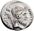 Ancients:Roman Republic, Ancients: Sextus Pompey (42 BC). AR denarius (19mm, 3.82 gm, 11h). ...