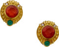 Estate Jewelry:Earrings, Carnelian, Chrysoprase, Diamond, Gold Earrings, Judith Ripka. ...