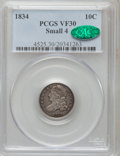 Bust Dimes: , 1834 10C Small 4 VF30 PCGS. CAC. PCGS Population (3/177). NGCCensus: (8/265). Mintage: 635,000. Numismedia Wsl. Price for ...