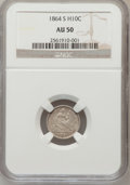 Seated Half Dimes: , 1864-S H10C AU50 NGC. NGC Census: (2/40). PCGS Population (4/36).Mintage: 90,000. Numismedia Wsl. Price for problem free N...