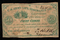 Obsoletes By State:Maryland, Baltimore, MD- U.S. Army Life Insurance Co. 50¢ Dec. 1862 Shank 5.160.UNL. ...