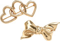 Estate Jewelry:Lots, TWO GOLD BROOCHES, TIFFANY & CO.. The lot includes two 14k gold brooches: one designed as a series of hearts, completed by a...