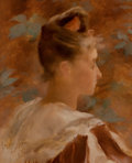 Paintings, LUCIEN LÉVY-DHURMER (French, 1865-1953). Portrait of a Lady, July 1887. Oil on wood panel. 9-1/2 x 8 inches (24.1 x 20.3...
