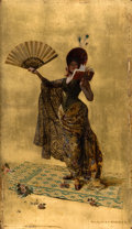 Fine Art - Painting, American:Antique  (Pre 1900), PINCKNEY MARCIUS-SIMONS (American, 1867-1909). Woman with a FanReading. Oil on gilt on panel. 16 x 9-1/4 inches (40.6 x...