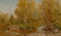 Fine Art - Painting, American:Antique  (Pre 1900), JERVIS MCENTEE (American, 1828-1891). Sandy Stream, MaineWoods, 1881. Oil on board. 7-3/4 x 12-3/4 inches (19.7 x 32.4...