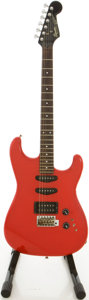 Musical Instruments:Electric Guitars, 1986 Squier by Fender MIJ Stratocaster Red Solid Body ElectricGuitar, #E613185....