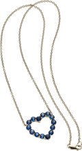 Estate Jewelry:Necklaces, Sapphire, White Gold Necklace. ...