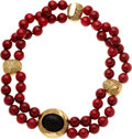 Estate Jewelry:Necklaces, Dyed Red Quartz, Black Onyx, Gold Necklace, Elizabeth Gage. ...