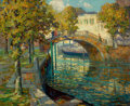 Fine Art - Painting, American, OSSIP LEONOVITCH LINDE (American, 1871-1940). Overlooking theCanal. Oil on canvas. 26-1/4 x 32 inches (66.7 x 81.3 cm)...