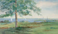 Fine Art - Painting, American, LOIS MAILOU JONES (American, 1905-1998). View from Martha'sVineyard. Watercolor on paper. 11 x 18 inches (27.9 x 45.7 c...
