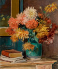 Fine Art - Painting, European, ALBERT ANDRÉ (French, 1869-1954). Dahlias. Oil on canvas. 18x 22 inches (45.7 x 55.9 cm). Signed lower right: Albert ...