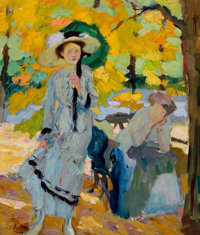 EDWARD CUCUEL (American, 1875-1954) Woman with Umbrella Oil on canvas 32-1/4 x 27-1/2 inches (81