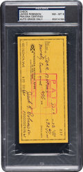 Autographs:Checks, 1972 Jackie Robinson Signed Check with Letter from Rachel Robinson, PSA/DNA NM-MT 8....