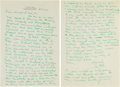 Autographs:Letters, 1955 Ty Cobb Handwritten Twice-Signed Letter....