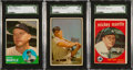 Baseball Cards:Lots, 1950's-1960's Topps & Bowman Mickey Mantle Collection (3)....
