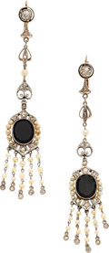 Estate Jewelry:Earrings, Edwardian Diamond, Black Onyx, Seed Pearl, Platinum-Topped GoldEarrings. ... (Total: 1 Pieces)