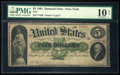 Large Size:Demand Notes, Fr. 1 $5 1861 Demand Note PMG Very Good 10 Net.. ...