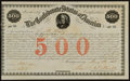 Confederate Notes:Group Lots, Confederate 8% Stock Certificate $500 February 28, 1861 Ball 14 Cr.3. ...