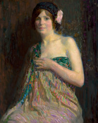 HOVSEP PUSHMAN (American, 1877-1966) Youth, No. 766 Oil on canvas 36 x 28-1/2 inches (91.4 x 72.4