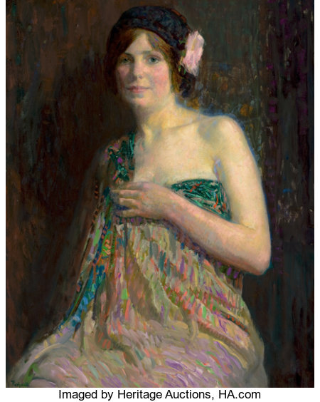 HOVSEP PUSHMAN (American, 1877-1966)Youth, No. 766Oil on canvas36 x 28-1/2 inches (91.4 x 72.4 cm)Signed lower l...