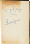 Autographs:Others, 1950 Honus Wagner Twice-Signed Book....