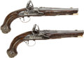 Handguns:Muzzle loading, Pair of Ornate Silver-Mounted English Flintlock Pistols by Wilsonfor the Eastern Market.... (Total: 2 )