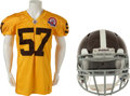 Football Collectibles:Uniforms, 2009 Mario Haggan Game Worn Denver Broncos Throwback Uniform and Helmet - From 10/11/09 Game vs. New England....