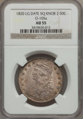 Bust Half Dollars, 1820 50C Square Base Knob 2, Large Date AU55 NGC. O-105a, R.3....
