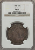 Early Half Dollars, 1805 50C VF30 NGC. O-112, R.2....