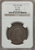 Early Half Dollars, 1795 50C 2 Leaves VG10 NGC. O-113a, R.4....