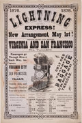 "Transportation:Railroad, 1876 ""Lightning Express"" Railroad Broadside for the San Francisco, California, Virginia and Truckee Railroad, Advertising New ..."