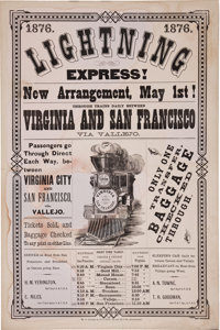 "1876 ""Lightning Express"" Railroad Broadside for the San Francisco, California, Virginia and Truckee Railroad..."