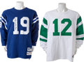 Football Collectibles:Uniforms, 1990's Joe Namath New York Jets and Johnny Unitas Baltimore Colts Signed Jerseys Lot of 2....
