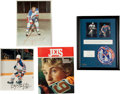 Hockey Collectibles:Photos, 1978-1990's Wayne Gretzky Signed Memorabilia Collection WithUnsigned Historic Programs (4)....