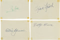 Autographs:Others, Circa 1950 Hall of Famers Signed Cut Signatures Lot of 4 withCobb....
