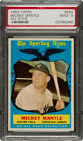 Baseball Cards:Singles (1950-1959), 1959 Topps Mickey Mantle All-Star #564 PSA Mint 9....