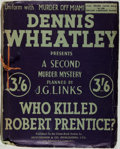 Books:Mystery & Detective Fiction, Dennis Wheatley. Who Killed Robert Prentice? London:Published for the Crime-Book Society by Hutchinson, [n. d., ca....