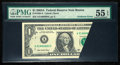 Error Notes:Foldovers, Fr. 1930-A $1 2003A Federal Reserve Note. PMG About Uncirculated 55EPQ.. ...