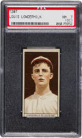Baseball Cards:Singles (Pre-1930), 1912 T207 Broadleaf Louis Lowdermilk PSA NM 7 (OC) - Equals HighestGrade Level Known! ...