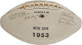 Autographs:Footballs, 1953 Notre Dame Fighting Irish Team Signed Football - From Coach Leahy's Final Season....